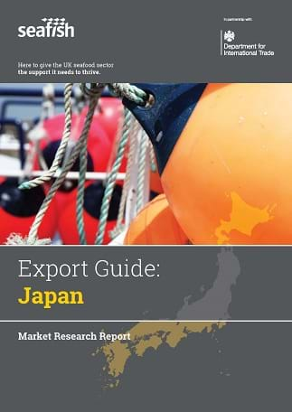 Image of the front cover of the Japan Export Guide. It shows a map of Japan and a photo of a fishing rope.