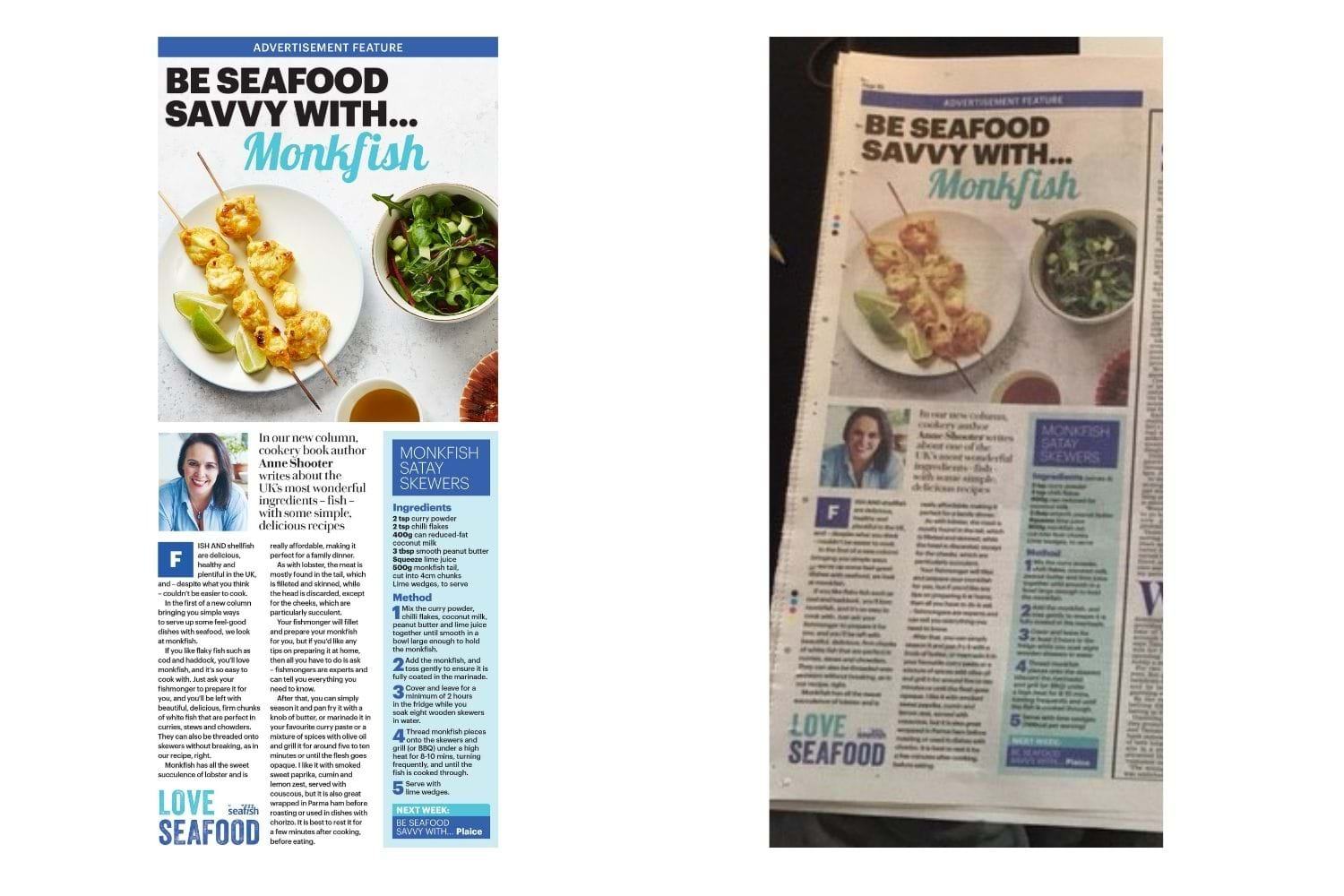 Screen shot of a Daily Mail article from the Love Seafood campaign titled 'Be seafood savvy with... monkfish' and a photo of the article in the paper