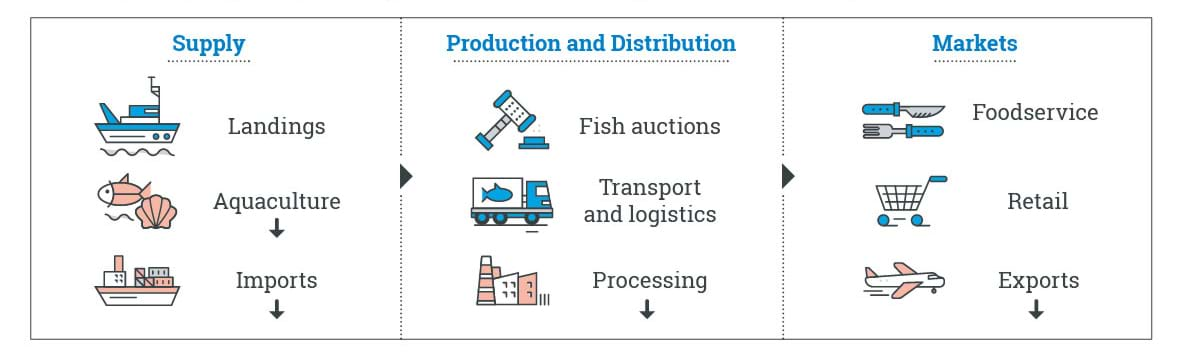Diagram with coloured icons to show impacts across supply, production and distribution and markets sectors pre-covid-19 (listed below)