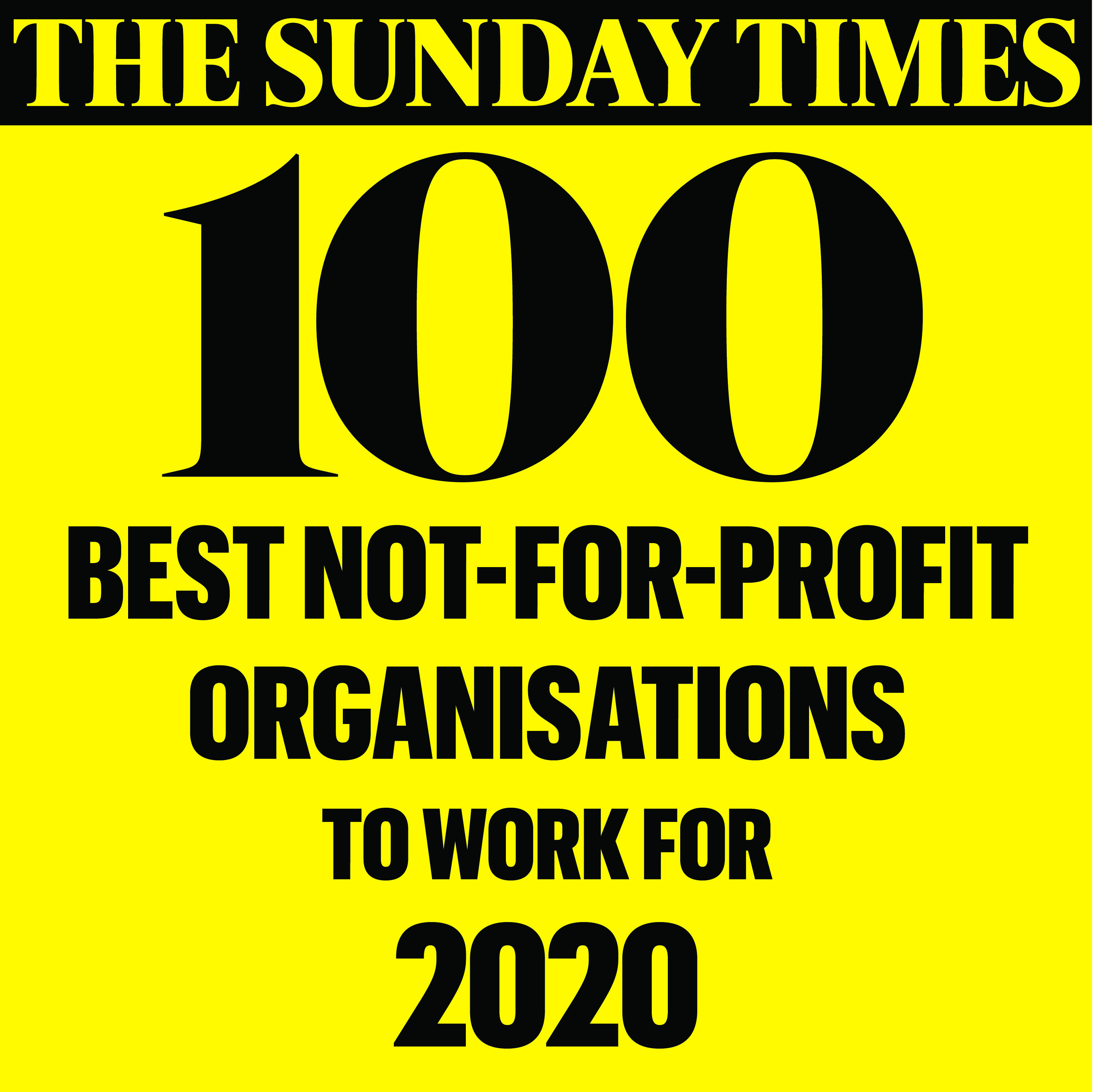 Logo for The Sunday Times 100 Best Not for Profit Organisations to work for in 2020