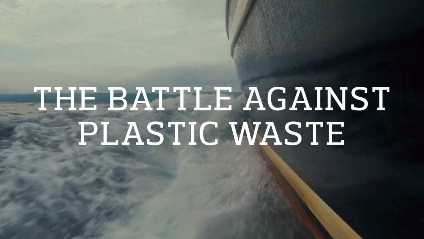 Still close up of boat at sea from The Battle Against Plastic Waste film